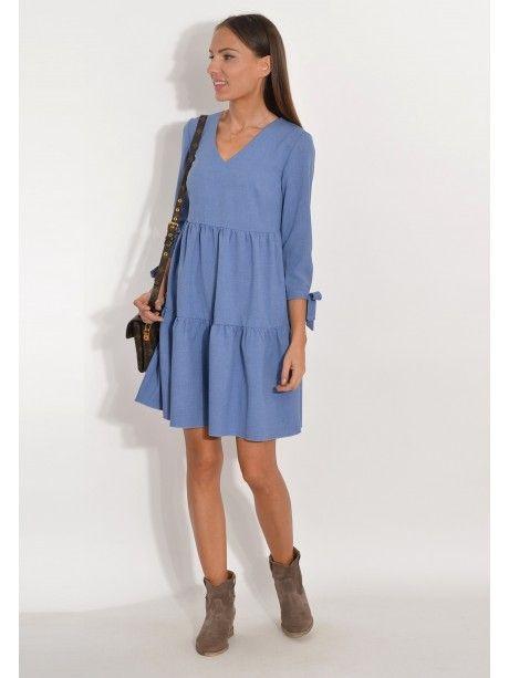 208ac33580 Sukienka z falbanami jasny jeansowy