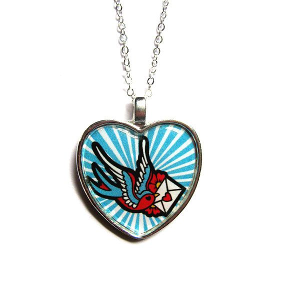 Hey, I found this really awesome Etsy listing at https://www.etsy.com/listing/110765337/tattoo-necklace-with-swallow-envelope