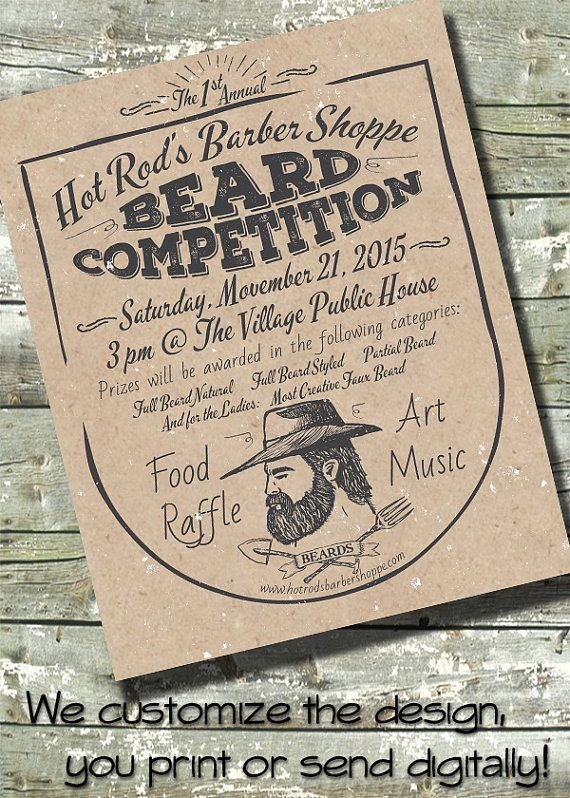 Beard Competition BUSINESS Poster Flyer EVENT Digital Invite Invitation