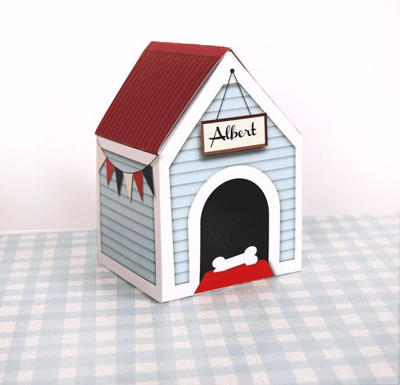 PERSONALIZED Custom Dog House Treats Box ,Printable, Large, New Puppy Present, Dog Treats, Pet Gift, Wooden Kennel, Bunting