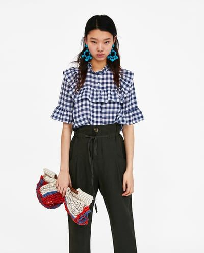 Image 2 of GINGHAM BLOUSE WITH RUFFLES from Zara