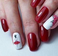 Uñas rojo bailarina y rosas