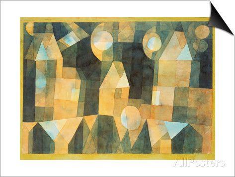 Three Houses and a Bridge, 1922 - Affischer av Paul Klee på AllPosters.se
