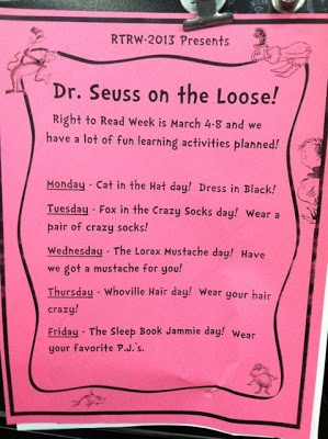 A whole week of school wide dr Seuss inspired activities