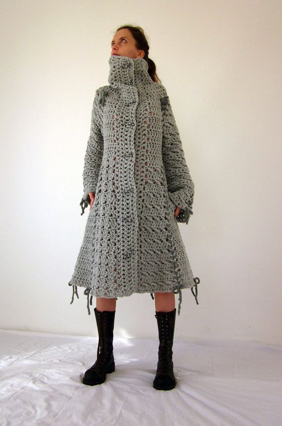 Candy crochet bow coat in grey with polymer clay by AmeBa77