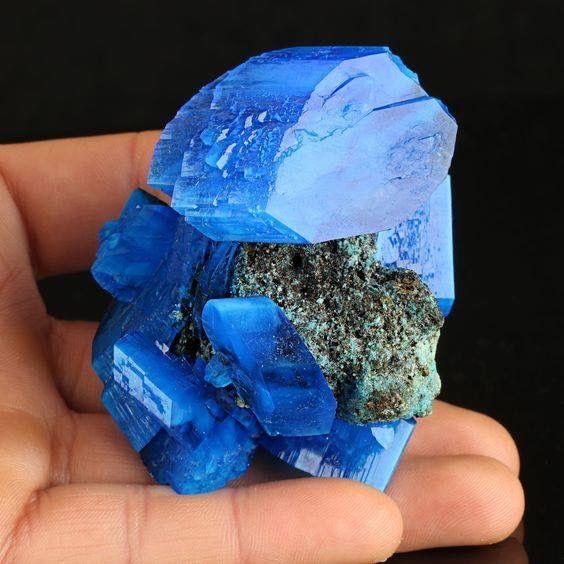 Fantastic Electric Blue Chalcanthite On Matrix From Poland.  Geology Wonders