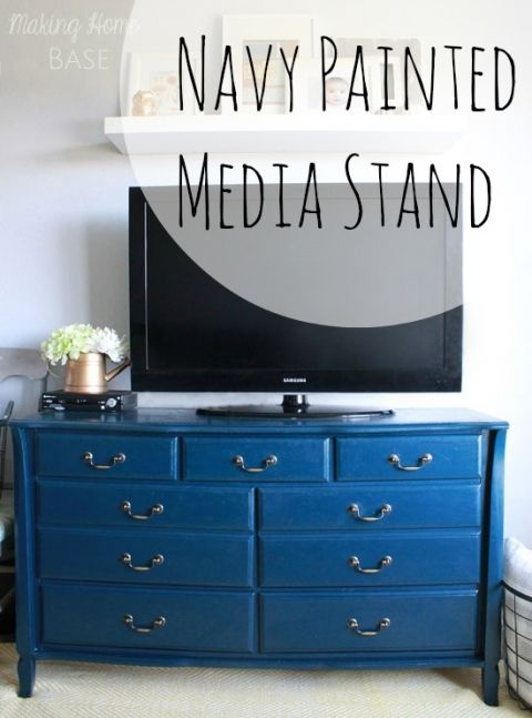 Navy-Painted-Media-Stand  Elegant evening Olympic paint