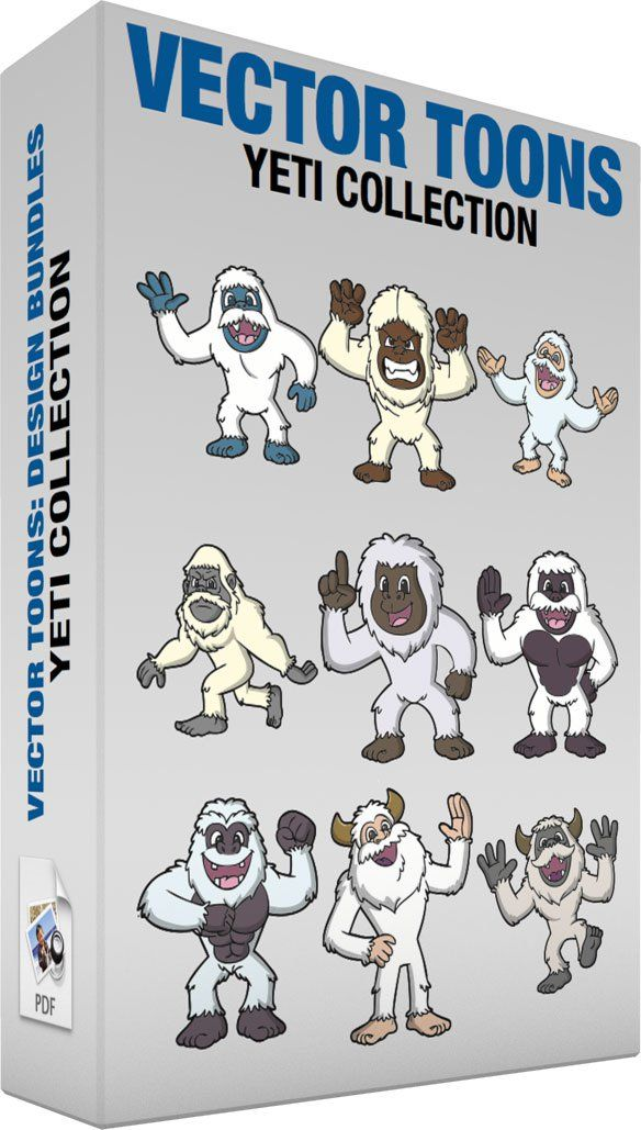 Yeti Collection:   Bundle of images includes the following:  A Greeting Yeti A yeti with white fur blue skin fangs and mustache parts its lips while raising its right hand with four fingers to wave an excited hello  A Mad Yeti A yeti with cream fur brown skin grits its sharp teeth while raising its hands to terrorize people  A Happy Yeti A yeti with white fur flesh colored skin four sharp teeth parts its lips in excitement as it slightly lifts its arms in delight  An Angry Yeti A yeti with…