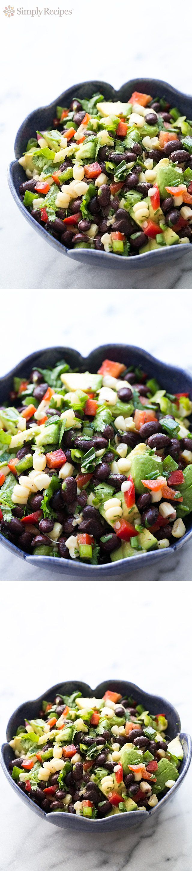 Black Bean Salad ~ Perfect for a summer picnic or potluck! Red bell peppers, jalapeños, avocado, black beans and corn combined to give this salad its kick and fresh flavors. On SimplyRecipes.com