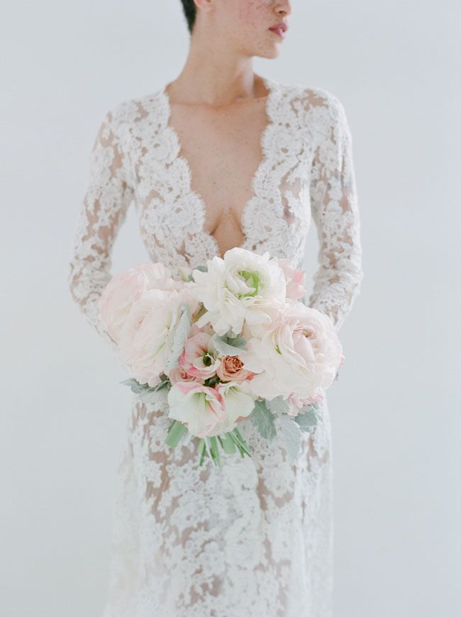 gorgeous lace dress + bouquet shot by Elizabeth Messina