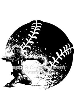 Baseball Catcher Silhouette mit Grunge Ball   – Sports