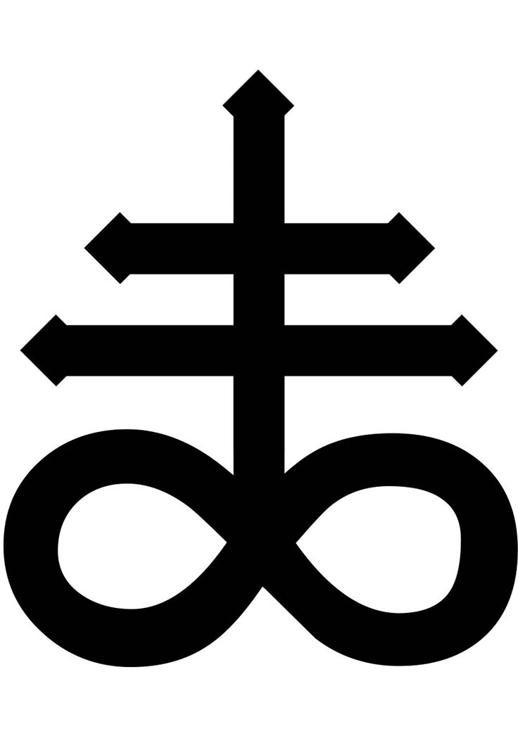 "The Leviathan Cross is sometimes referred to as Crux Satanus, which means the ""Satan Cross"". Depicted on the bottom is an infinity sign (∞), and above is a double cross (‡). The Double cross symbolizes protection and balance between male and female. The infinity sign most likely means eternal rest/happiness, this may have been used by Anton Lavey in The Satanic Bible to represent that Hell, the kingdom of Satan, was actually an afterlife of pleasure, balance, and truth, while Christianity…"