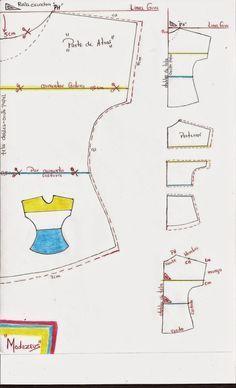 molde de blusa de tres colores-bloques manga enteriza cortada en telas con elongacion (licra-viscosa) #moldeblusas #moldes #blusas #modazeus