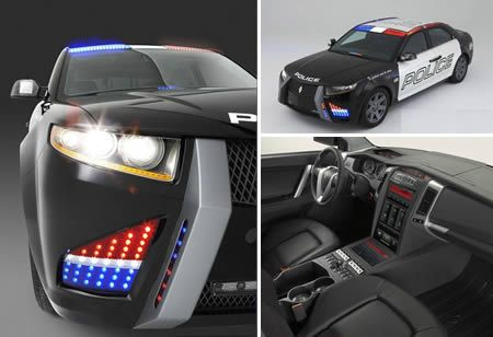 This is the Carbon Motors E7, a new police car prototype equipped with sensors for weapons of mass destruction and automatic numberplate scanners that became the talk of a law enforcement convention in the US.
