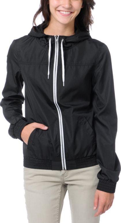 Zumiez - Zine Girls Black Windbreaker Jacket $39.95