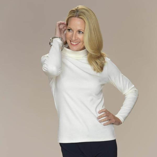 Versatile, semi-fitted roll neck top with long sleeves.   100% silky soft Pima Cotton  SaveSave