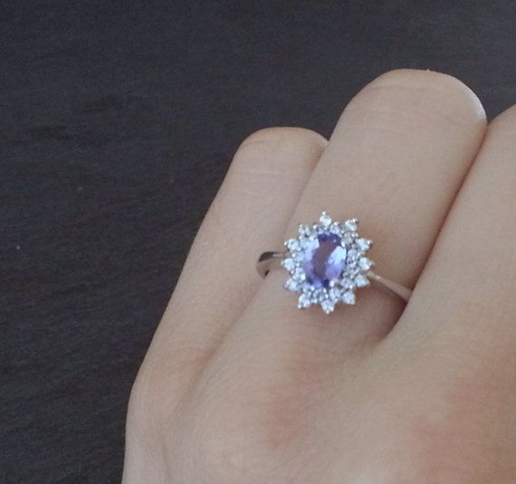 Tanzanite Ring Diamond Ring Purple Engagement Ring by ArahJames