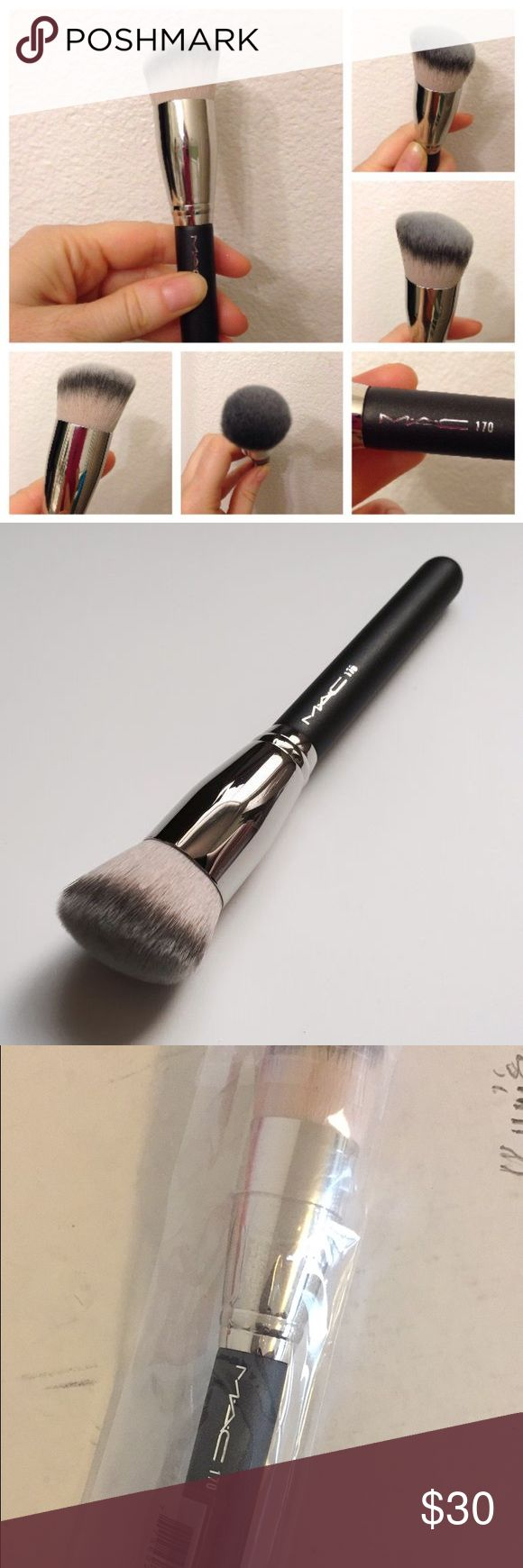 #170 MAC foundation brush Seriously the best foundation brush ever! It gives such a beautiful smooth even finish with liquid or powder foundation. Definitely a must have foundation brush! NEVER USED OR OPEN. MAC Cosmetics Makeup Brushes & Tools