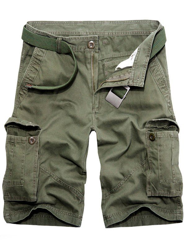 $13.11 Casual Loose Fit Solid Color Multi-Pockets Cargo Shorts For Men