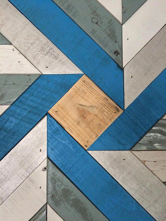 Barnwood edredón azul y plata recuperado arte de pared de