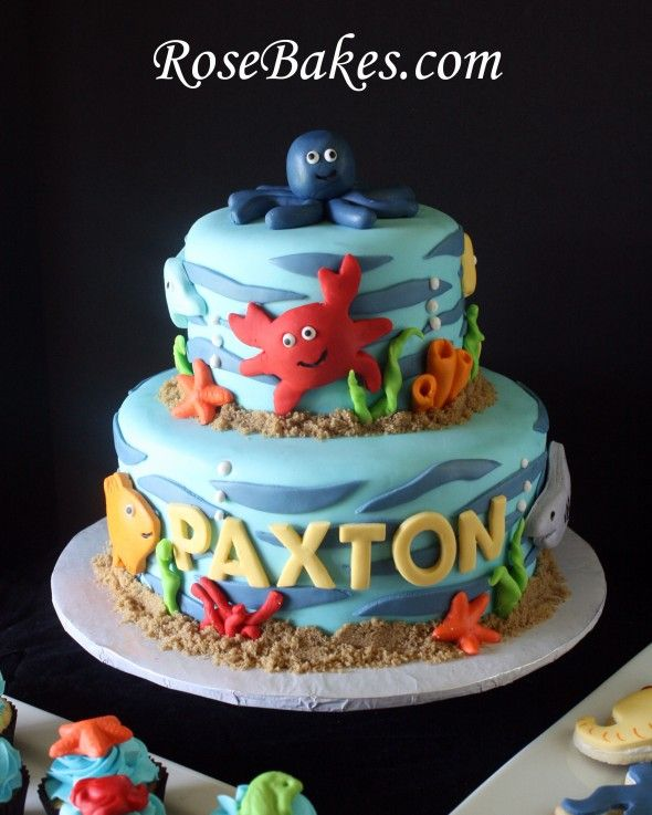 """Under the Sea"" Party:  Cake, Cupcakes, & Cookies!  Click over to see all the goodies!"