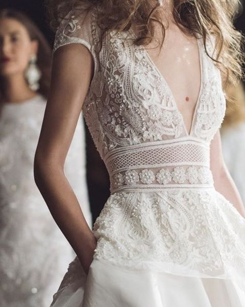 Deep-V, lace wedding dress with pockets