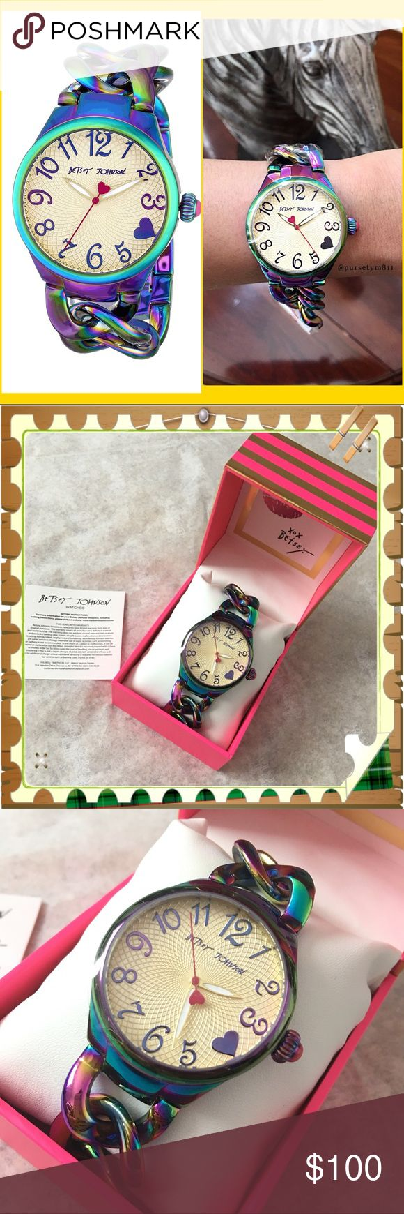 Authentic Betsey Johnson Iridescent Chain Watch Show off the charm and playfulness of the colors of the rainbow, personified w/ this eye-catching Betsey Johnson watch. A multicolor, iridescent case and round bezel beautifully offset a light champagne textured dial, set w/ numeral markers. Boasting Quartz movements. Never used. GORGEOUS. Betsey Johnson Accessories Watches