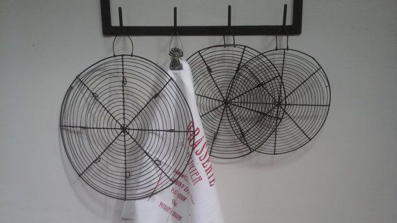 French Vintage set of 3 Cooling Racks in 3 different sizes..Iron Wire Cake Rack...Christmas Bakery...Farmhouse...French Bakery...Fil de Fer.