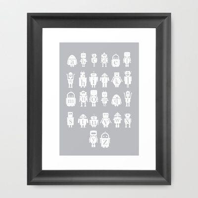 Robot Alphabets in Grey Framed Art Print by CreativeNeesh - $39.00
