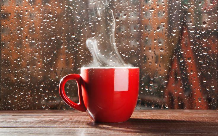Gorąca, Kawa, Czerwona, Filiżanka, Szyba, Krople, Deszczu
