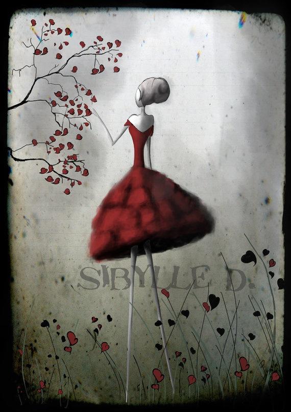 """La reine de coeur"" 11x16,5 fine art print - Named and signed on the back"