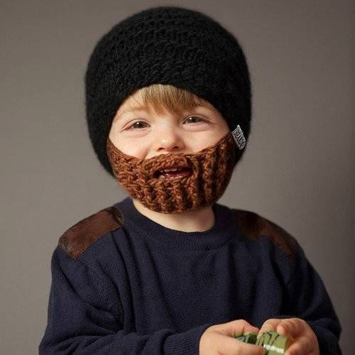 Beardo Kids Foldaway Funny Beard Hat Winter Beanie Black Brown Childs Knit Hats