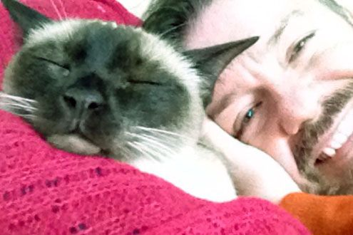 Ricky Gervais and his cat Ollie