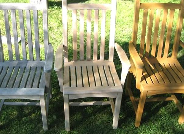 Teak Furniture Care And Maintenance Left Right Teak With A Grayish Patina Teak After Cleanin In 2020 Teak Outdoor Furniture Outdoor Wood Furniture Teak Patio Furniture
