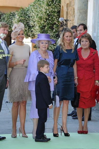FLORENCE, ITALY - JUNE 16: (L-R) Prince Willem-Alexander, Princess Maxima of the Netherlands, Queen Beatrix, Count of Orange Claus-Casimir, Princess Mabel and Princess Margriet of the Netherlands and arrive for the Princess Carolina Church Wedding With Mr Albert Brenninkmeijer at Basilica di San Miniato al Monte on June 16, 2012 in Florence, Italy.