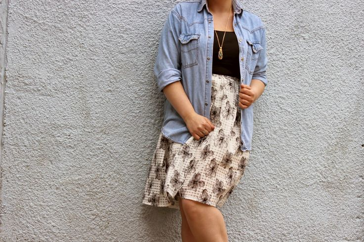LoveFromLucky wearing the Una Floral Print Mesh Check Skirt ow.ly/MGCFW