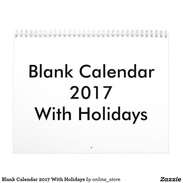 Blank Calendar 2017 With Holidays