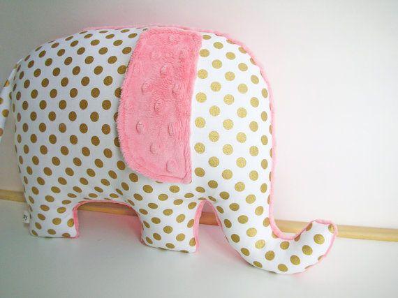 Modern metallic gold nursery decor Elephant Pillow by bakerbaby, $34.00