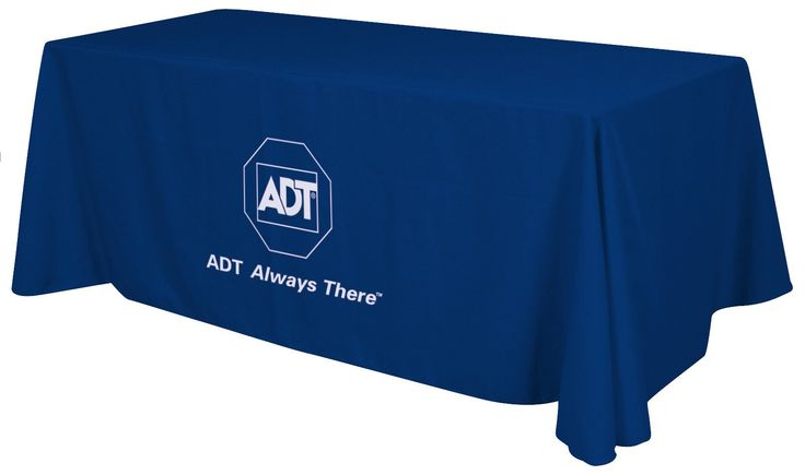Branded tablecloth cover for a tradeshow.