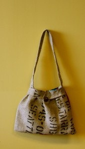 Wood Button Burlap Purse by ImpassionCreations on Etsy, $30.00
