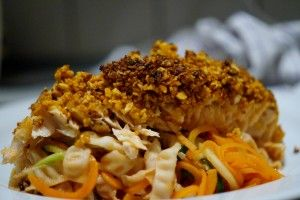 Laks med et lækkert mandel/glutenfri cornflakes crust
