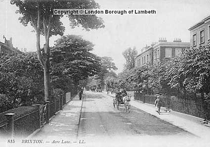 1900 A horse carriage ambles down Acre Lane towards central Brixton in this scene from 1900. To the right, you can just make out the turning into Trinity Square, situated between two sturdy Victorian villas. Note the large gardens lining the left hand side of the street. (pic: Lambeth Archives)