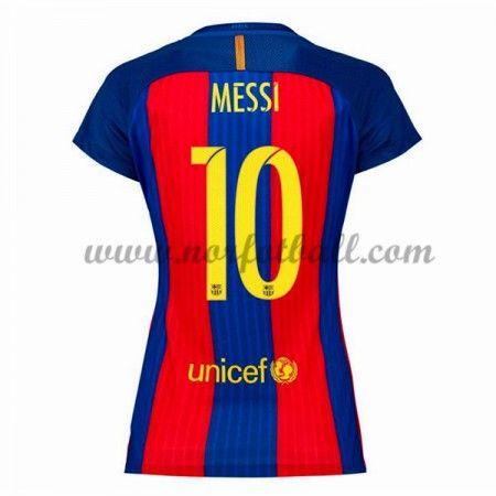 Draktsett Fotball Barcelona 2016-17 Messi 10 Dame Hjemme Fotballdrakter Kortermet