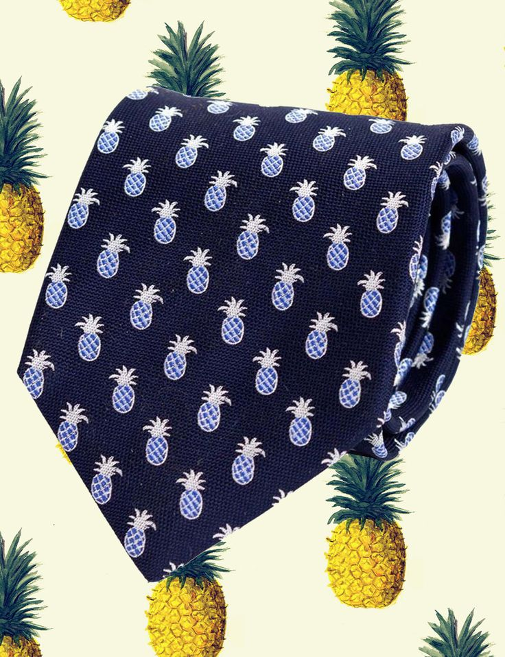 Get a piece of our pineapple action! The Hardy Amies Silk Pineapple Tie in Navy and Blue. 100% Silk, Made in Italy #shoppingmensfashion #men #menswear #necktie #