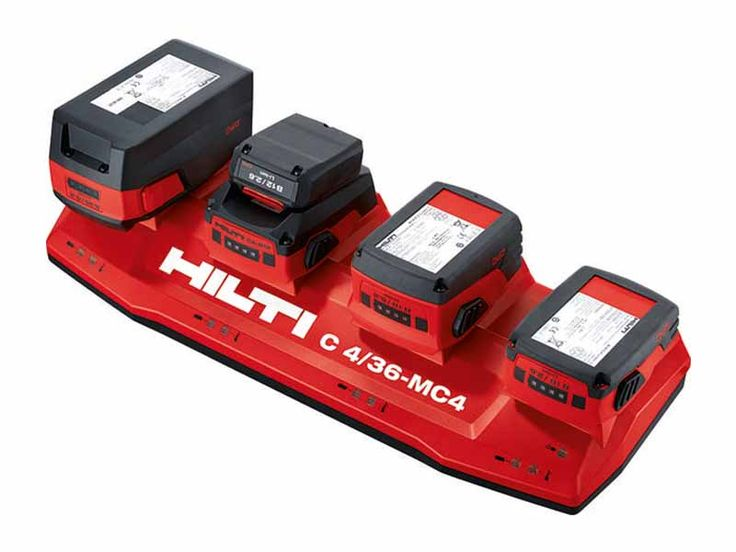 Hilti 18V Battery Packs and Multi-Bay Charger - http://www.protoolreviews.com/tools/power/cordless/batteries-chargers/hilti-18v-battery-packs-multi-bay-charger/24203/