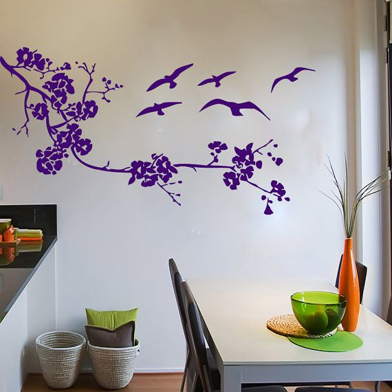 Wall Decals Birds Tree Branch Decal Vinyl Sticker Bathroom Kitchen Window Nursery Bedroom  Home Decor Art Murals MN38