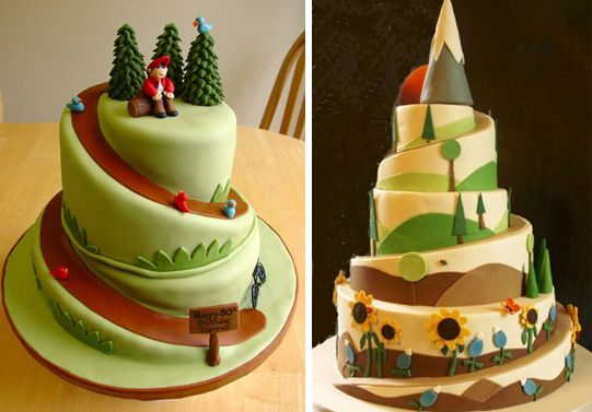 Hiking Themed Wedding Cake Toppers