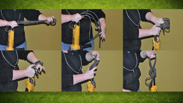 Neatly Wrap Power Tool Cables with a Simple Overhand Knot
