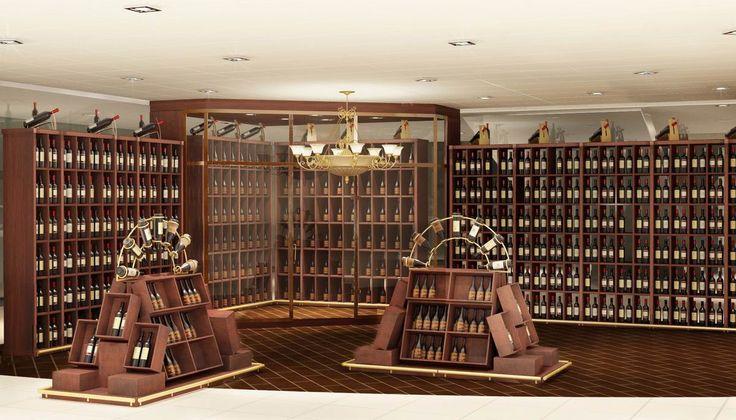 Стеллажи для винного магазина из массива дерева