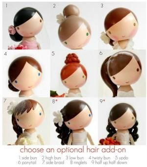 Hair add-ons ideas for clothespin dolls by Claire But